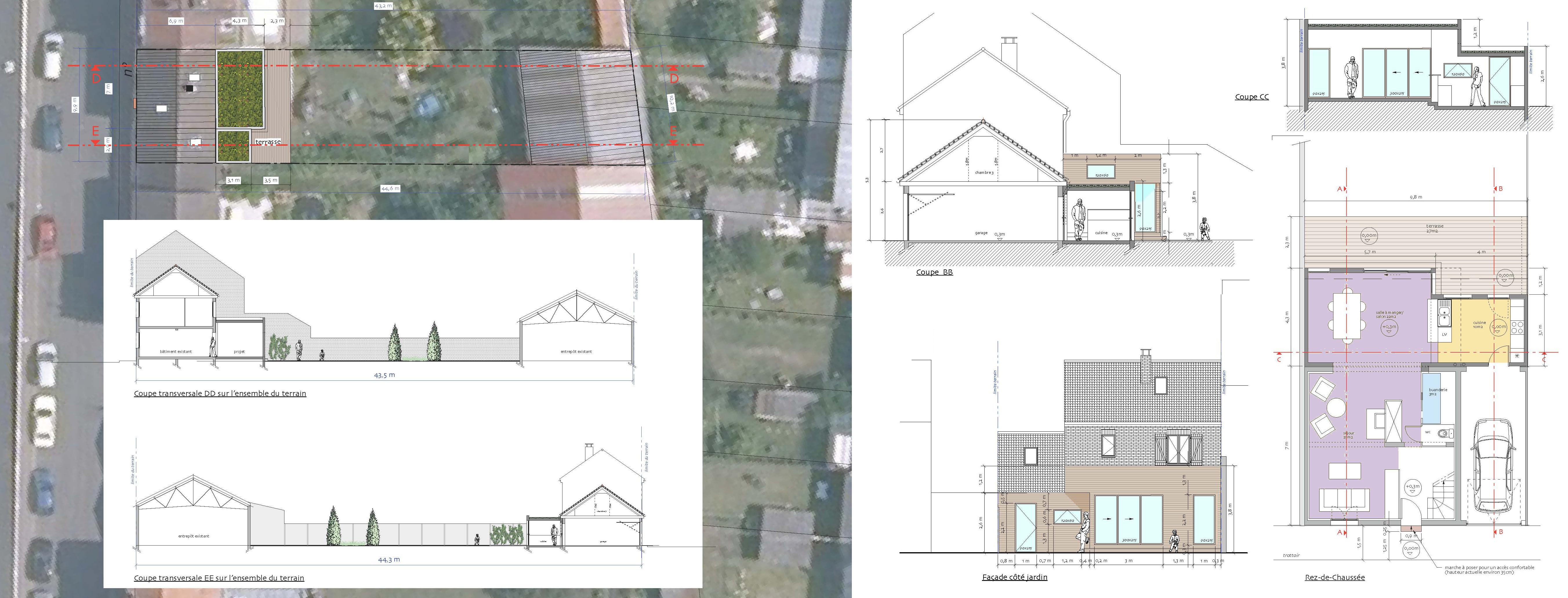 plan masse, coupes sur le terrain, coupe, façades et plan
